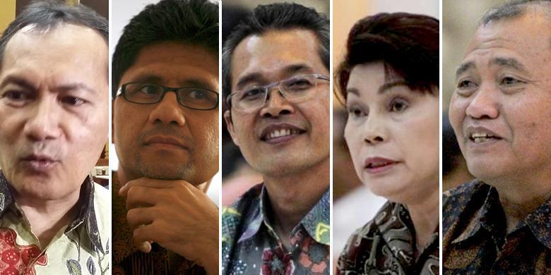 Lima pimpinan Komisi Pemberantasan Korupsi terpilih. Dari kiri ke kanan: Saut Sitomorang, Laode Muhamad Syarif, Alexander Marwata, Basaria Panjaitan, dan Agus Rahardjo.